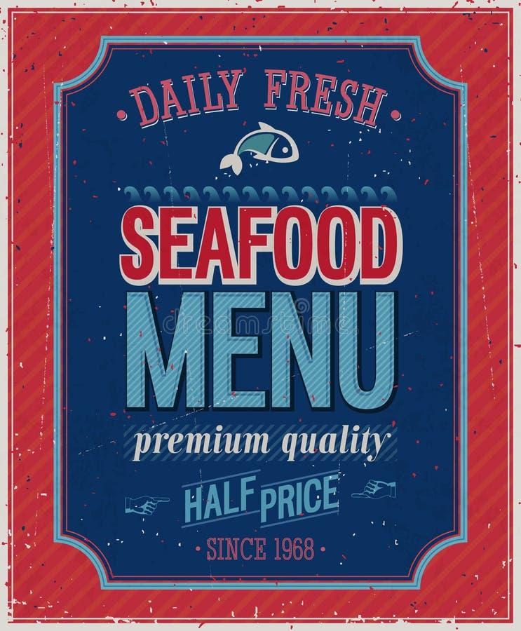 Cartel de los mariscos del vintage. ilustración del vector