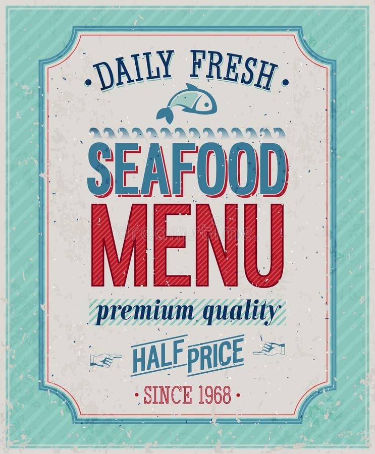 Cartel de los mariscos del vintage. stock de ilustración