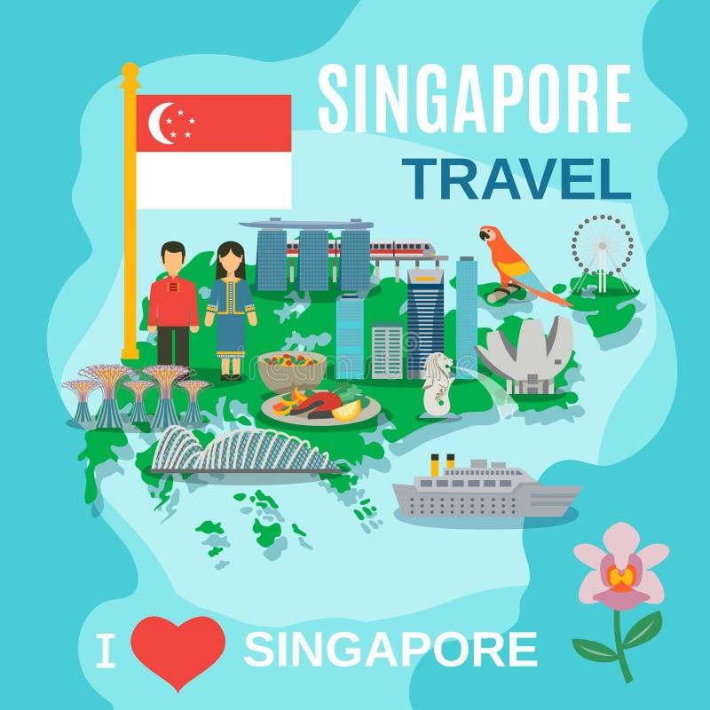 Cartel de los símbolos nacionales del viaje de Singapur libre illustration
