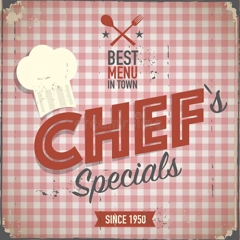 Cartel de los specials de los cocineros del vintage ilustración del vector