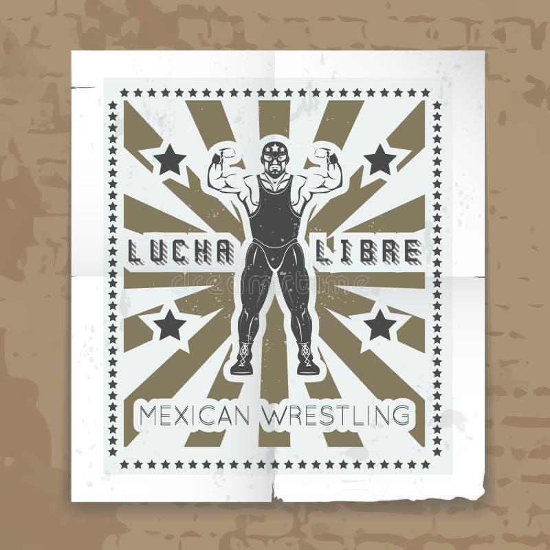 Cartel de lucha mexicano del vector de la máscara libre illustration