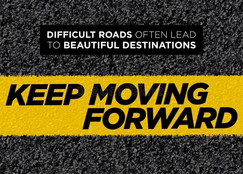 Cartel de motivación del vector Keep que se mueve adelante Fondo sano de la vida Cita inspirada del entrenamiento, de la aptitud  stock de ilustración
