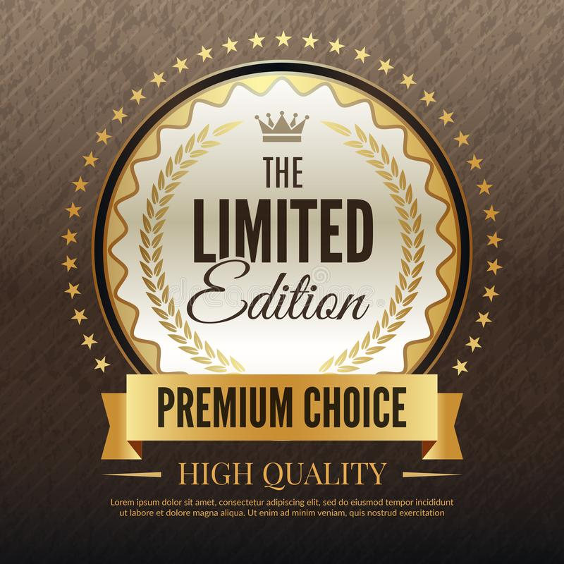 Cartel de oro superior Plantilla de lujo de la plantilla de alta calidad del servicio y del vector del cartel de la opción con el stock de ilustración