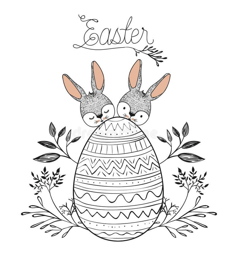 Cartel de Pascua con dos conejitos de pascua detrás de huevo de Pascua con la decoración floral en silueta monocromática ilustración del vector