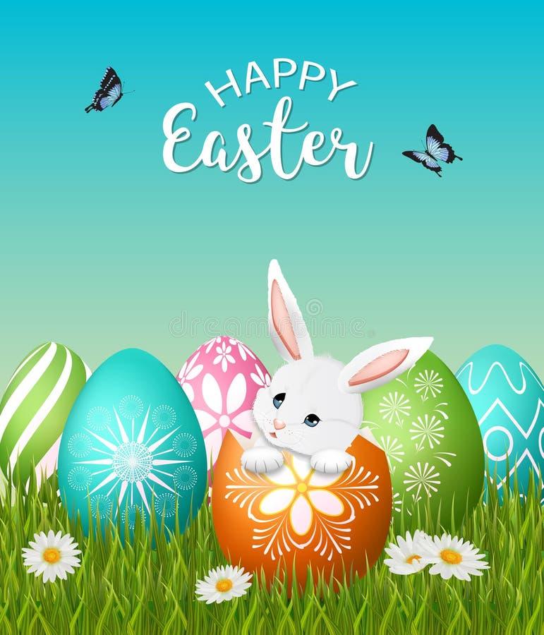 Cartel de Pascua con el conejito adorable y los huevos coloridos libre illustration