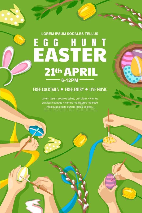Cartel de Pascua de la caza del huevo, bandera, disposición del aviador Huevos de Pascua de la pintura de los niños, ejemplo del  ilustración del vector