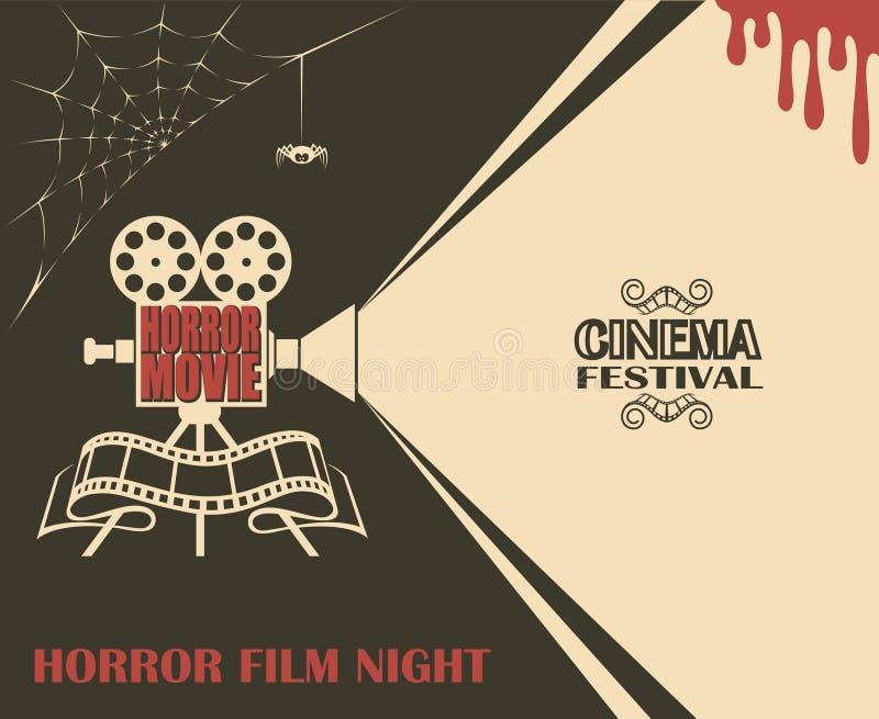 Cartel de película de terror stock de ilustración