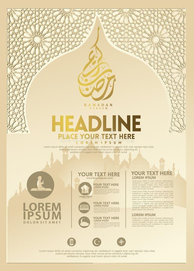Cartel de Ramadan Kareem, plantilla y otros usuarios, fondo islámico del folleto de la bandera stock de ilustración