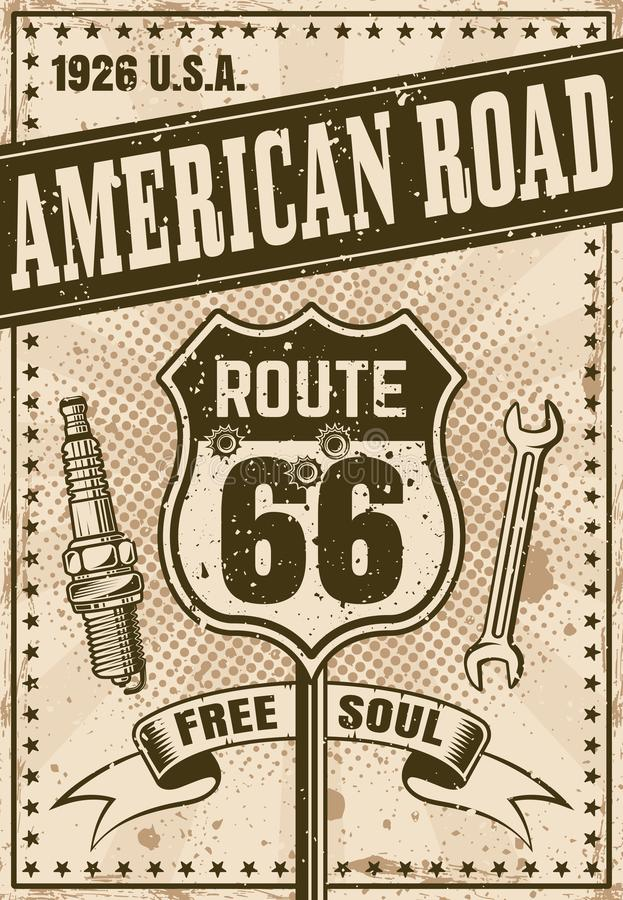 Cartel de Route 66 en estilo del vintage libre illustration