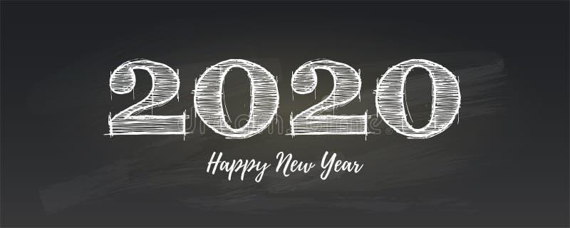 Cartel de saludo de la Feliz Año Nuevo 2020 Letras manuscritas de la tiza Mensaje retro para la celebración de la Navidad encendi stock de ilustración