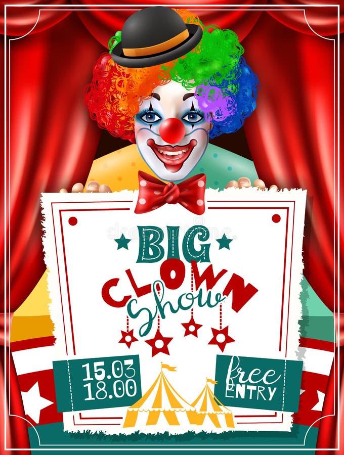 Cartel de Show Invitation Advertisement del payaso de circo stock de ilustración