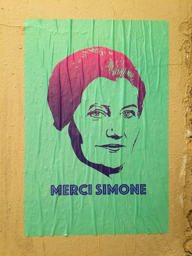 Cartel de Streetart que ofrece al último político de sexo femenino francés Simone stock de ilustración