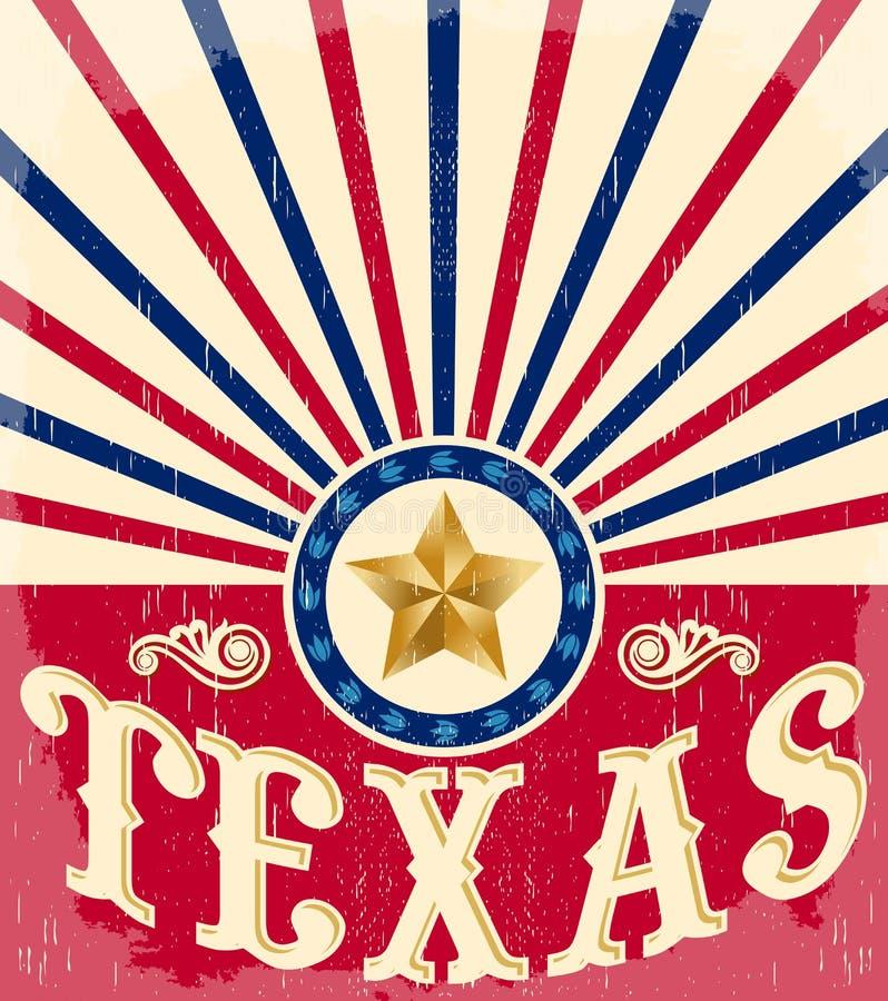 Cartel de Texas Vintage - tarjeta - occidental stock de ilustración