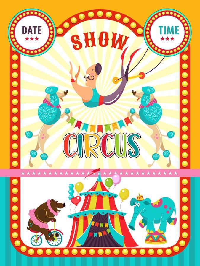 Cartel de una demostración del circo Ilustración del vector Artistas del circo y animales entrenados stock de ilustración