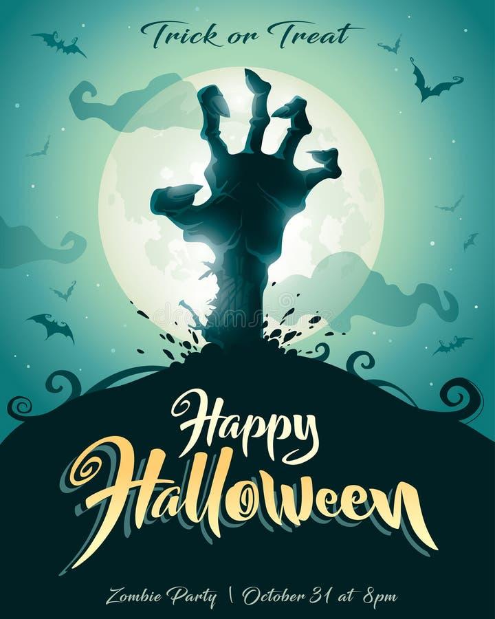 Cartel de Víspera de Todos los Santos Partido del zombi stock de ilustración