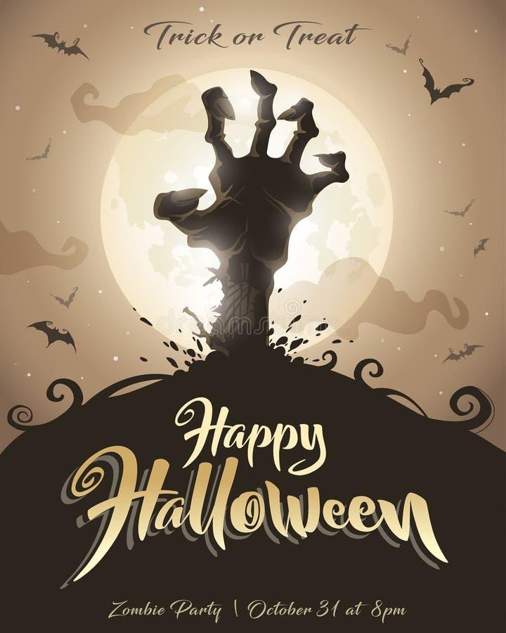 Cartel de Víspera de Todos los Santos Partido del zombi libre illustration