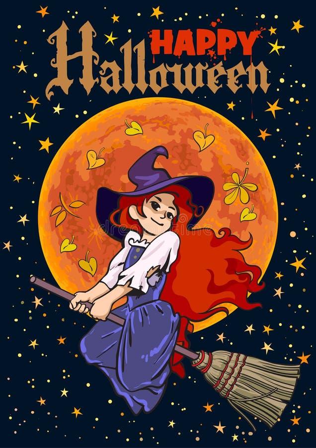 Cartel de Víspera de Todos los Santos Vuelo joven de la bruja de la historieta en el palillo de la escoba en fondo de la Luna Lle ilustración del vector
