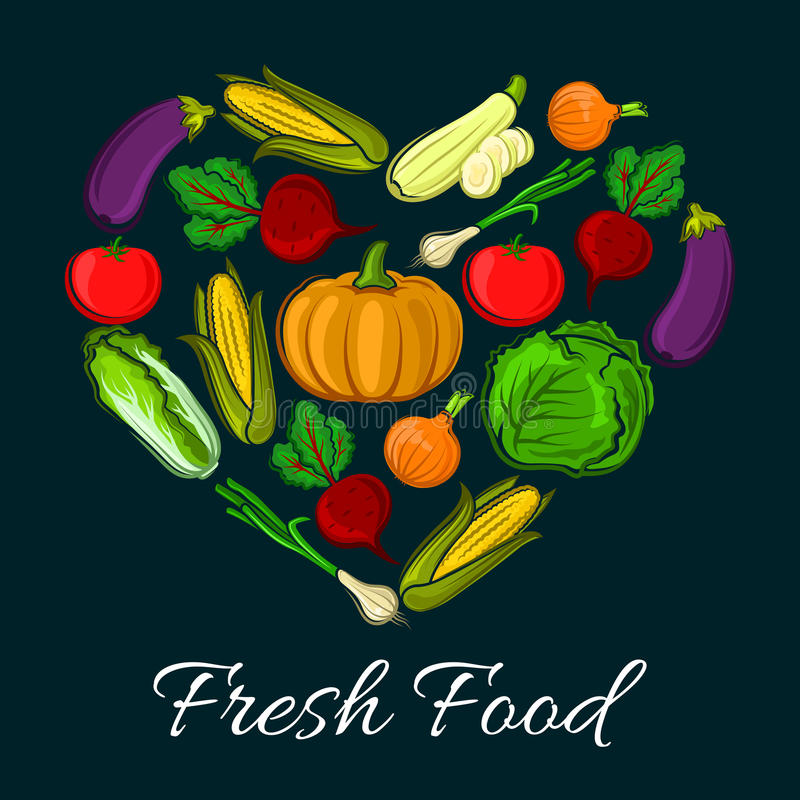 Cartel de verduras vegetarianas, cosecha de la granja stock de ilustración