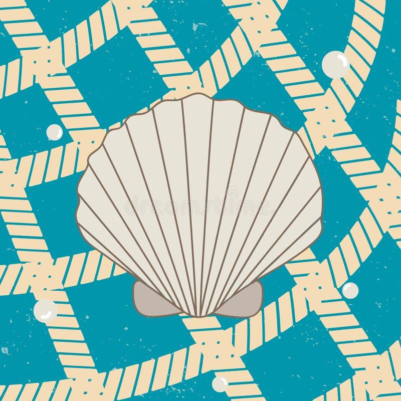 Cartel de Vitage con la concha marina, las perlas y la red ilustración del vector