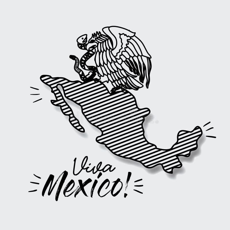 Cartel de Viva México con el mapa rayado y el emblema del águila con la serpiente en silueta negra ilustración del vector
