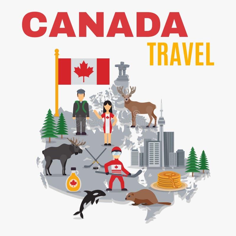 Cartel decorativo de Canadá del mapa stock de ilustración