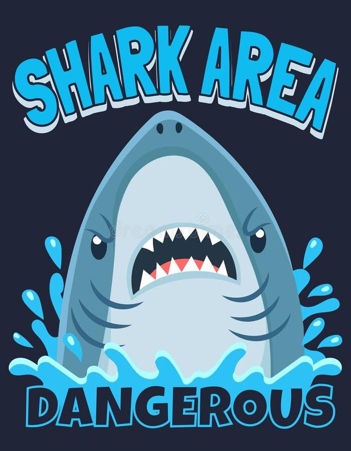 Cartel del área del tiburón Tiburones del ataque, salto del océano y ejemplo amonestador del vector de la historieta de la resaca stock de ilustración