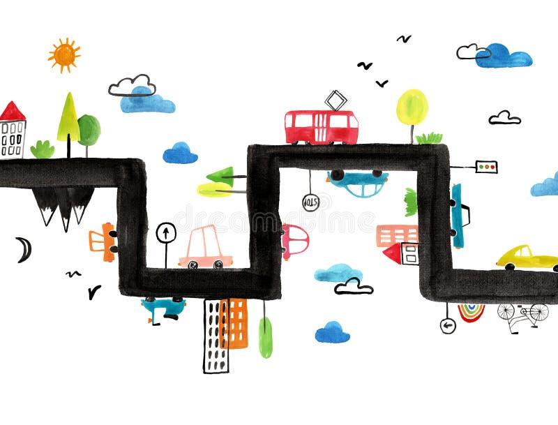 Cartel del aguazo de los niños con los coches que viajan stock de ilustración