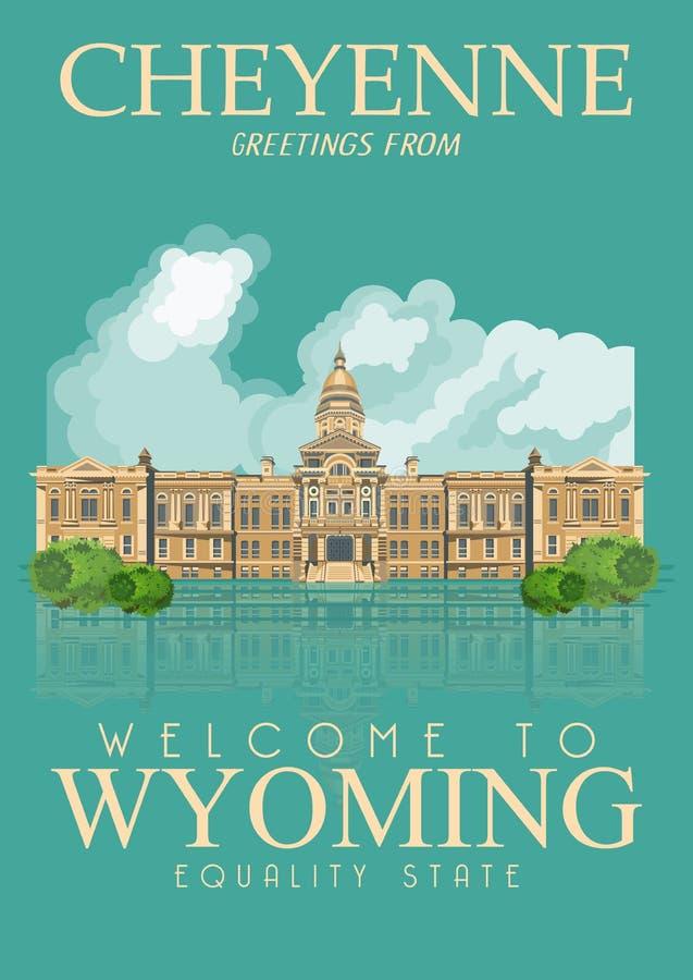 Cartel del americano de Wyoming cheyenne Ejemplo del viaje de los E.E.U.U. Tarjeta de felicitación colorida de los Estados Unidos libre illustration