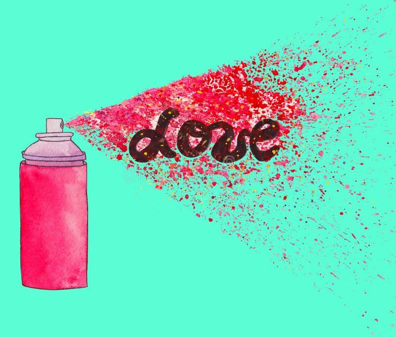 Cartel del amor Ejemplo del arte de la calle de la pintada con el splashe de la pintura ilustración del vector