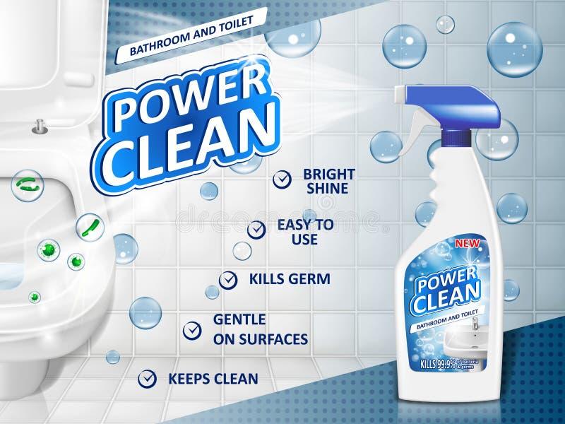 Cartel del anuncio de los limpiadores de cuarto de baño, maqueta de la botella del espray con el detergente para el fregadero del stock de ilustración
