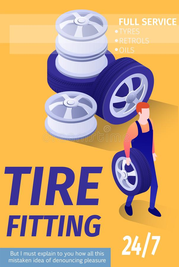 Cartel del anuncio para el garaje de la tienda del automóvil del neumático que cabe ilustración del vector