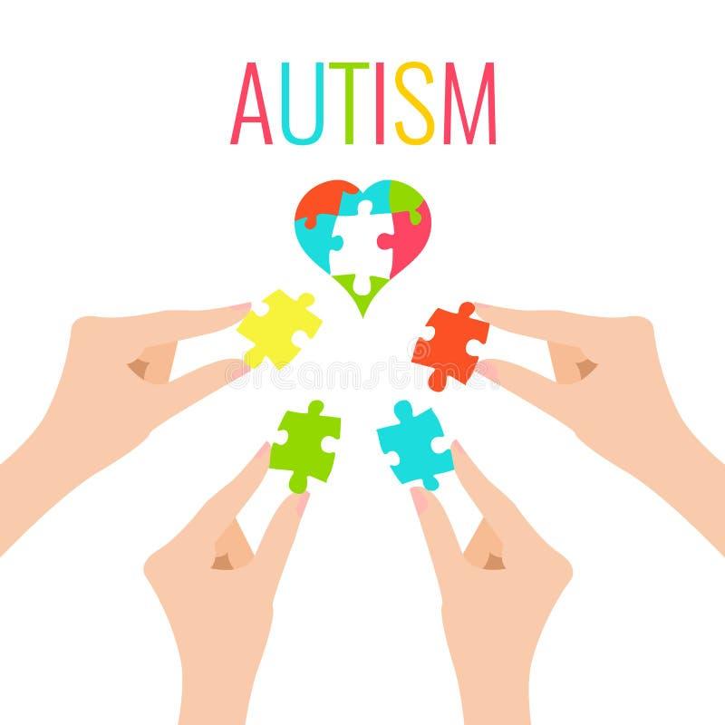 Cartel del autismo con el corazón y las manos ilustración del vector