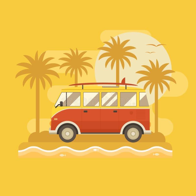 Cartel del autobús que practica surf ilustración del vector