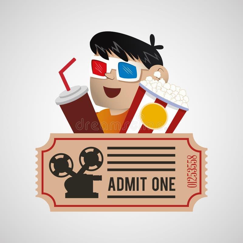cartel del boleto del maíz de la gaseosa del muchacho del cine 3d stock de ilustración