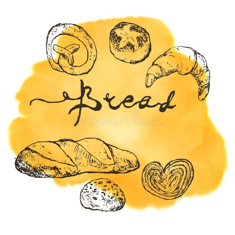 Cartel del bosquejo de la panadería o de la casa del pan del pan cocido en punto amarillo de la acuarela Plantilla del diseño del stock de ilustración