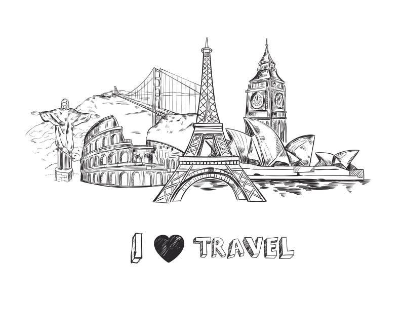 Cartel del bosquejo del viaje libre illustration