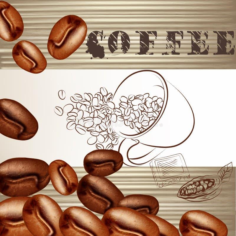Cartel del café con los granos helados y la textura de madera stock de ilustración