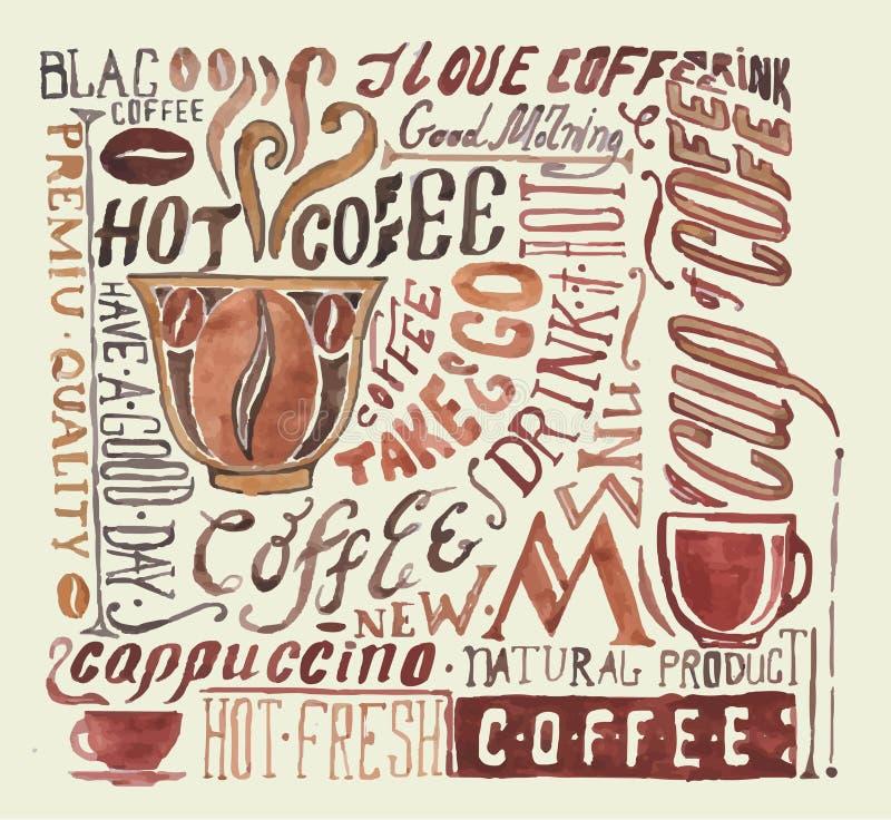 Cartel del café de la acuarela libre illustration