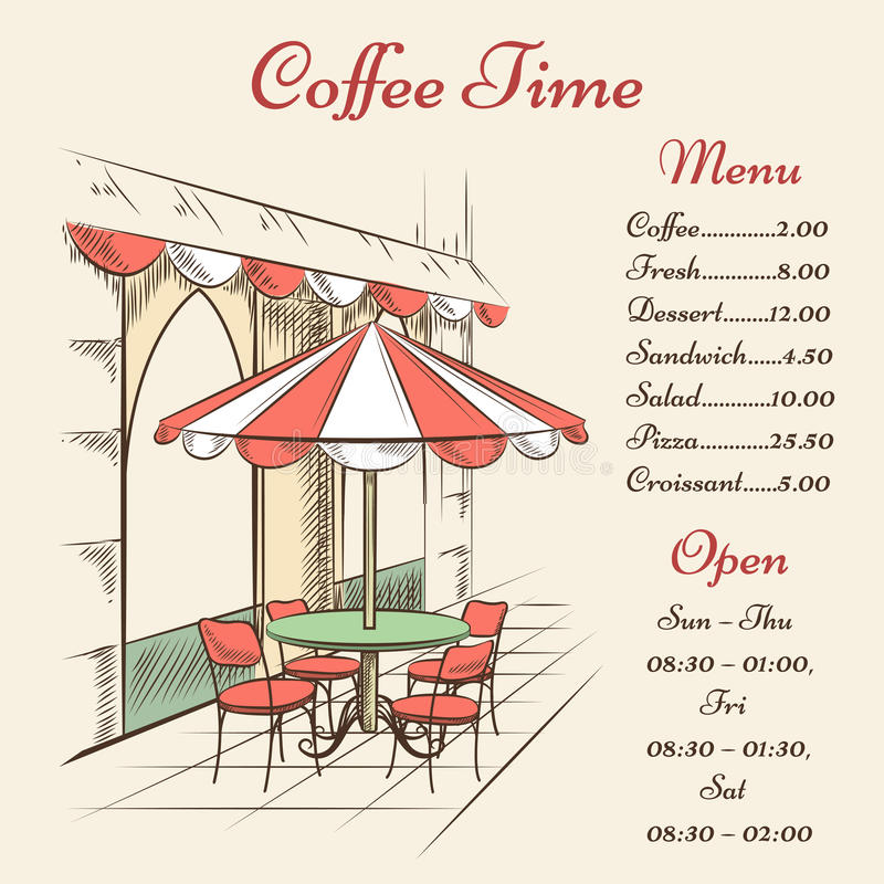 Cartel del café de la calle del vector stock de ilustración