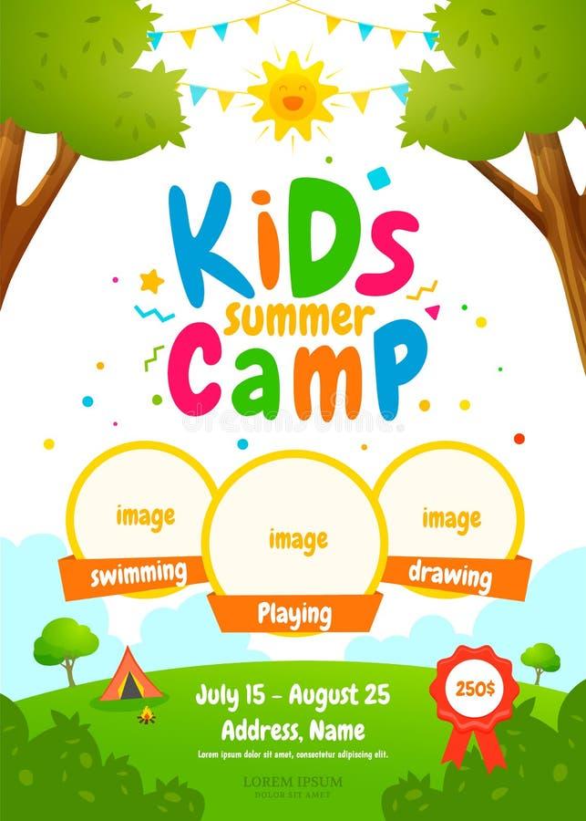 Cartel del campamento de verano de los niños stock de ilustración