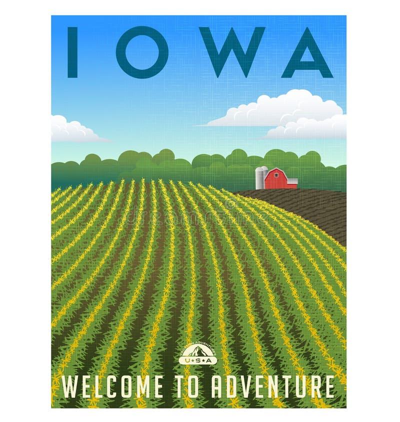 Download Cartel Del Campo De Maíz De Iowa Ilustración del Vector - Ilustración de equipaje, rojo: 77875920