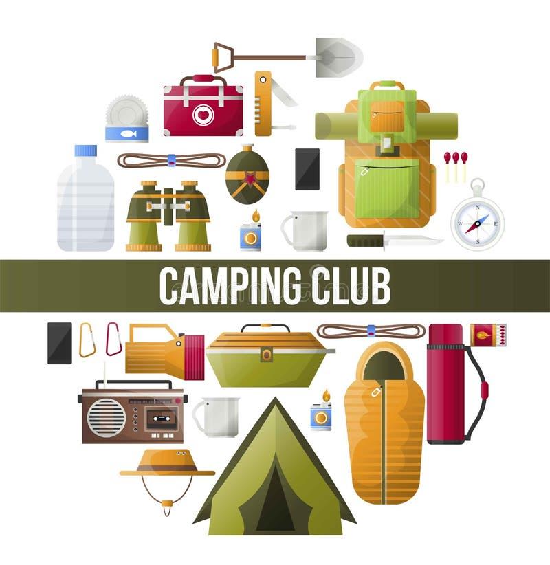 Cartel del campo del vector del club el acampar de verano ilustración del vector