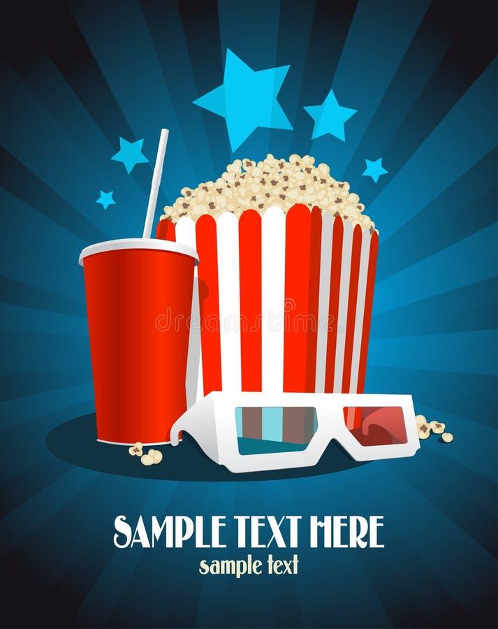 Cartel del cine con bocado y los vidrios 3D. stock de ilustración