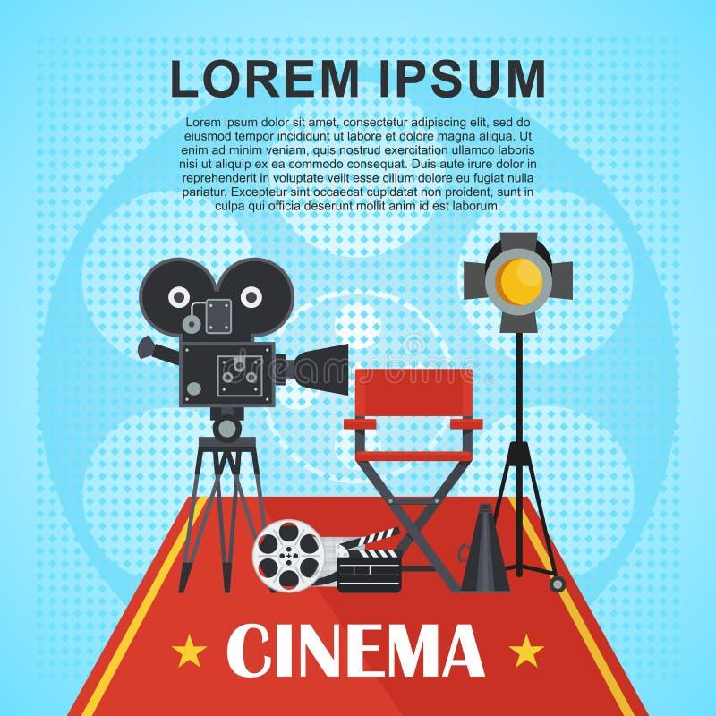 Cartel del cine con el texto libre illustration