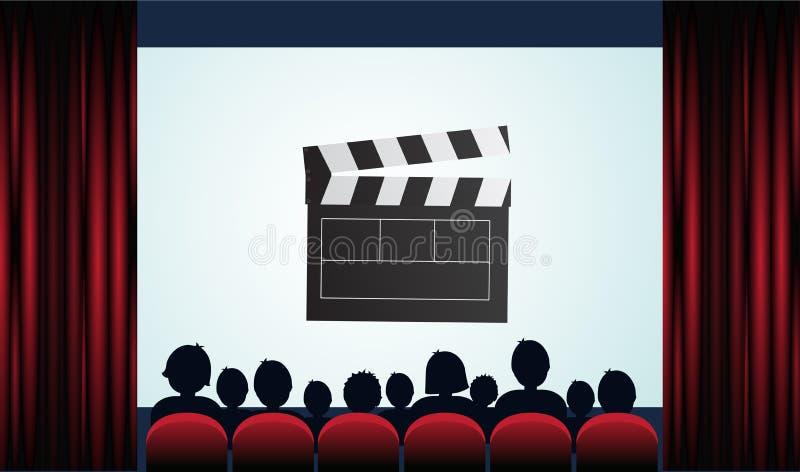 Cartel del cine con la audiencia, la pantalla y las cortinas rojas Vector la enfermedad ilustración del vector