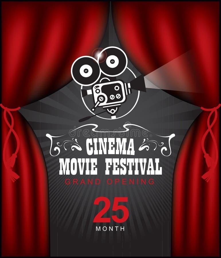 Cartel del cine con las cortinas y la cámara rojas stock de ilustración