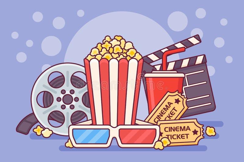 Cartel del cine con palomitas, soda, boletos, los vidrios y tira de película Ejemplo del vector del diseño de la bandera del cine fotos de archivo