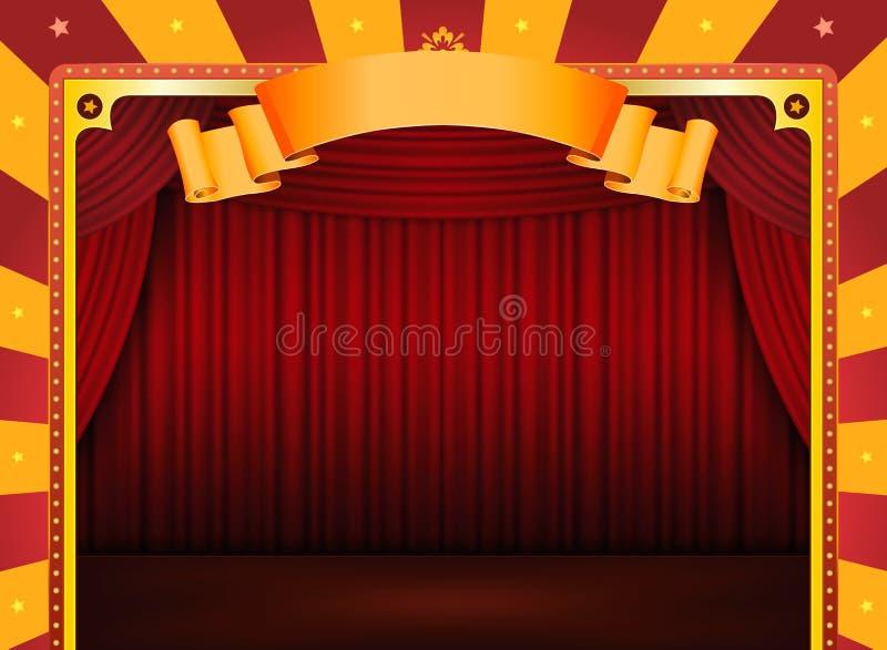 Cartel del circo con la etapa y las cortinas rojas libre illustration