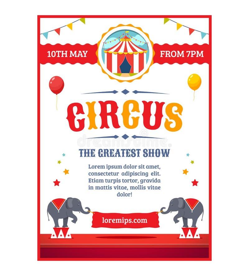 Cartel del circo de la historieta stock de ilustración