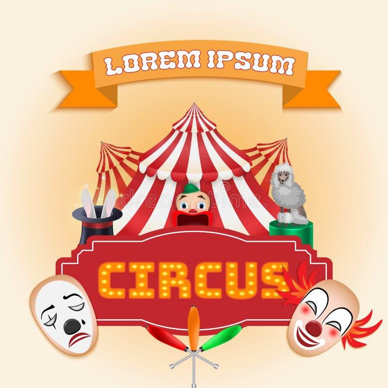 Cartel del circo, demostración mágica ilustración del vector